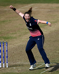 Anya Shrubsole of England Women celebrates taking the wicket of Elyse Villani of Australia Women - Mandatory by-line: Robbie Stephenson/JMP - 09/07/2017 - CRICKET - Bristol County Ground - Bristol, United Kingdom - England v Australia - ICC Women's World Cup match 19