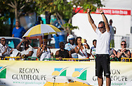 """The 2014 Route Du Rhum finish. Guadeloupe. Pictures of Yann Guichard onboard his """"Maxi Trimaran"""" Spindrift 2. Finishing the Route du Rhum in 2nd place this afternoon<br /> Credit: Mark Lloyd/Lloyd Images"""