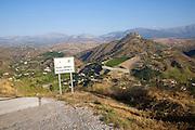 Peligro indefinido road sign Axarquía landscape La Molina village near Comares, Malaga province, Spain