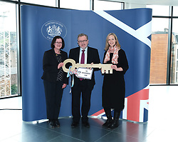 Scottish Secretary of State David Mundell received the keys to the new UK Government building in Edinburgh.<br /> <br /> The new hub is due to open in early 2020 and bring together nearly 3,000 UK Government civil servants.<br /> <br /> Pictured: (l to r) Gillian McGregor (Director, Office of the Secretary of State for Scotland), David Mundell MP and Victoria Bowman (Deputy Director, Office of the Secretary of State for Scotland) <br /> <br /> Alex Todd   Edinburgh Elite media