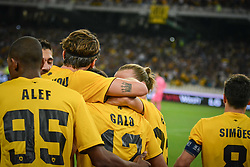 August 14, 2018 - Athens, Greece - Rodrigo Galo of Aek (C) celebrate with his teammates after scoring his first goal side  during the UEFA Champions League 3rd Qualifying round second  leg match AEK FC  vs Celtic FC at the Olympic Stadium of Athens , on 14 August 2018. (Credit Image: © Giannis Alexopoulos/NurPhoto via ZUMA Press)