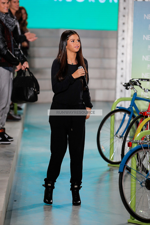 Selena Gomez adresses the audience at the Adidas Neo Spring 2015 fashion show during Mecedes-Benz Fashion Week in New York on September 3rd, 2014