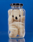 Stuffed bear in glass jar against a blue background
