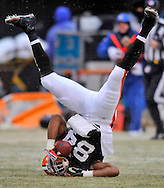 Cleveland Browns receiver Robert Royal is upended after catching a first down pass Sunday, Jan. 3, 2010 against visiting Jacksonville.