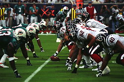 Stock photo of the Texans offense lined up against the Miami Dolphins