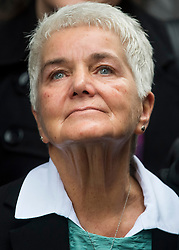 © Licensed to London News Pictures. 23/11/2016. London, UK. KEAN LEADBEATER, mother of Jo Cox,  looks emotional as she listens to Brandon Cox read a statement outside the Old Bailey in London where a guilty verdict was returned in the murder trial of Labour MP Jo Cox. Thomas Mair was found guilty of shooting and stabbing the mother-of-two in Birstall, West Yorkshire, on 16 June. Photo credit: Ben Cawthra/LNP