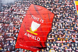 LIVERPOOL, ENGLAND - Saturday, August 29, 2020: A detail view on a new street art mural of Liverpool FC players Steven Gerrard, Jamie Carragher, Robbie Fowler, Virgil van Dijk and Kenny Dalglish. The mural was created by Murwalls on the side of the Arc Hotel near Liverpool FC's Anfield Stadium. (Pic by Propaganda)