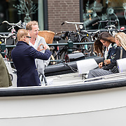 NLD/Amsterdam/20160602 - Prins Bernhard van Oranje varend door de Amsterdamse grachten met journalisten in zijn nieuwe boot Waterdream,