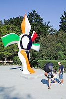 """""""Walking Flower"""" by Fernand Leger - The Hakone Open Air Museum creates a harmonic balance of the nature of Hakone National Park with art in the form of scultpures and other artwork, usually replicas, using the nature of Hakone National Park as a frame or background. The park encourages children to play and includes many light-hearted sculptures to entertain as well as inspire visitors."""