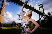 Dancer in Cathedral Park, Portland, Oregon.
