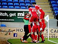 Scunthorpe Utd players celebrate Scunthorpe Utd forward Lee Novak (17) goal 0-2 during the EFL Sky Bet League 1 match between Peterborough United and Scunthorpe United at London Road, Peterborough, England on 1 January 2019.