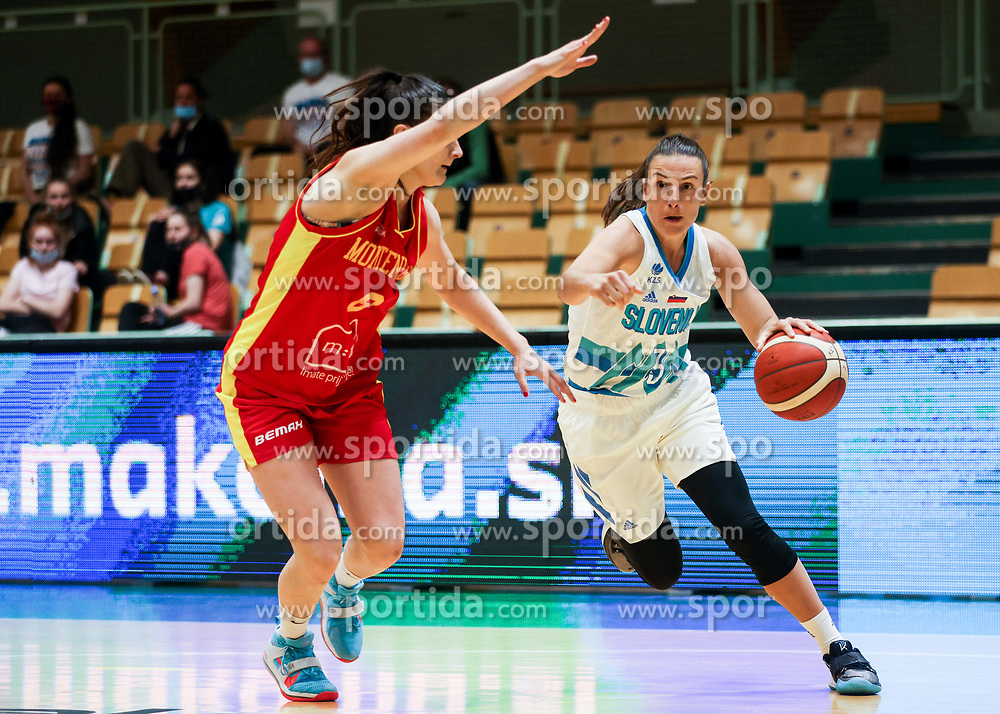 Teja Oblak of Slovenia during friendly basketball match between Women National Teams of Slovenia and Montenegro, on May 21, 2021 in Arena Tri Lilije, Lasko, Slovenia. Photo by Vid Ponikvar / Sportida