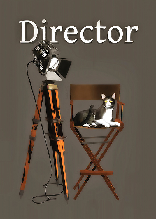 """Pair this up with the """"Cats: Actor"""" piece, and you will have two career paths in the same industry. It is also fun to imagine the cat from """"Actor"""" interacting with the serious-looking feline in this piece. Are the cats getting along? Is the actor open to direction? You can see that the cat in """"Director"""" seems to know exactly what needs to be done on the set. What are they working on? It is fun to imagine, and it is easy to imagine just about anyone being able to get a big kick out of this fine art example. .<br /> <br /> BUY THIS PRINT AT<br /> <br /> FINE ART AMERICA<br /> ENGLISH<br /> https://janke.pixels.com/featured/director-jan-keteleer.html<br /> <br /> WADM / OH MY PRINTS<br /> DUTCH / FRENCH / GERMAN<br /> https://www.werkaandemuur.nl/nl/shopwerk/Katten-regisseur/436568/134"""
