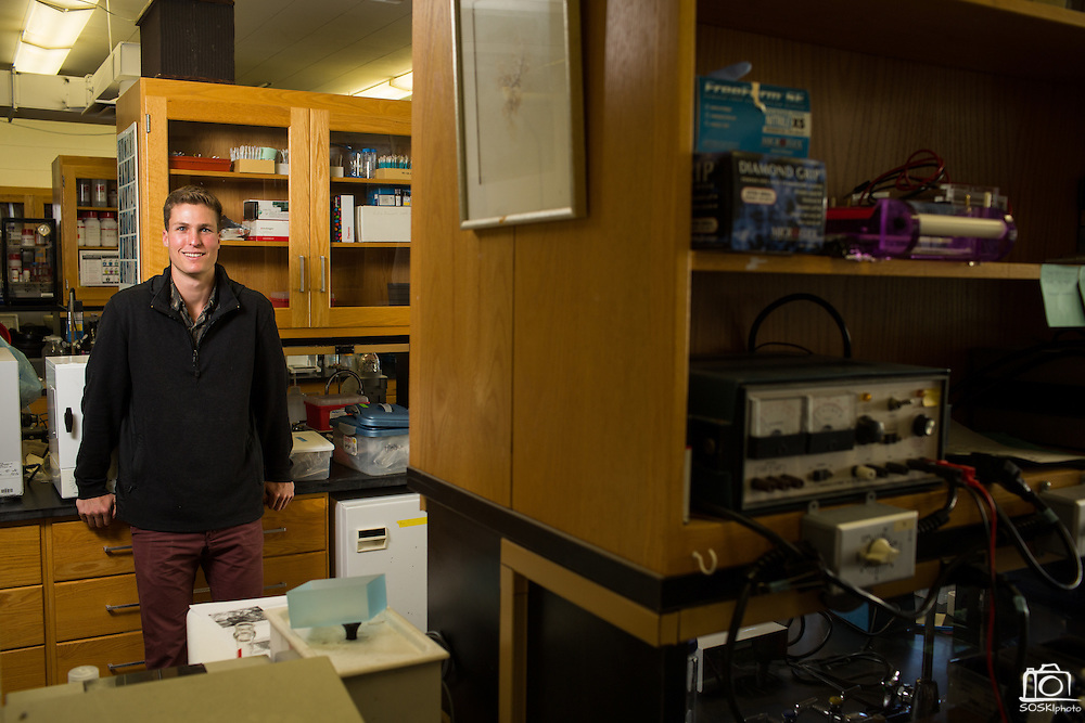 Stanford undergrad Austin Ayer poses for a portrait at Stanford University's Hopkins Marine Station in Pacific Grove, California, on February 23, 2016. (Stan Olszewski/SOSKIphoto for Hakai Magazine)