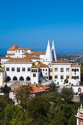 Sintra National Palace - Palacio Nacional - from the direction of the Moorish Castle, Sintra, Portugal