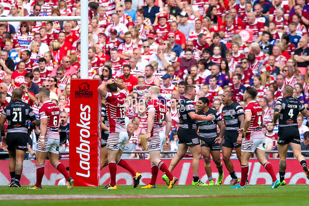 Hull FC left wing Fetuli Talanoa (5) scores a try and celebrates to make the score 4-6 during the Ladbrokes Challenge Cup Final 2017 match between Hull RFC and Wigan Warriors at Wembley Stadium, London, England on 26 August 2017. Photo by Simon Davies.