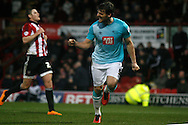 Chris Martin of Derby celebrating after scoring his teams 3rd goal .Skybet football league championship match, Brentford  v Derby county at Griffin Park in London on Saturday 20th February 2016.<br /> pic by Steffan Bowen, Andrew Orchard sports photography.