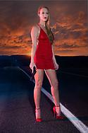 USA, Oregon, Highway, Red Dress Woman MR