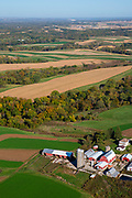 Aerial image over Grant County, Wisconsin on a beautiful morning.