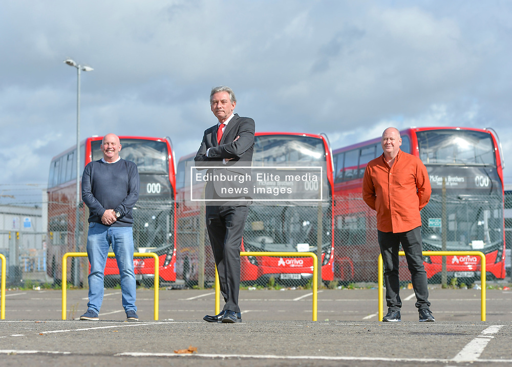 Scottish Labour leader Richard Leonard met with union representatives Paul Leckie and David Broadfoot from bus builder Alexander Dennis in Falkirk today, The manufacturer announced plans to cut 160 jobs at the plant last month.<br /> <br /> © Dave Johnston / EEm