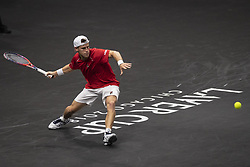 September 21, 2018 - Chicago, Illinois, U.S - DIEGO SCHWARTZMAN of Argentina hits a forehand during the third singles match on Day One of the Laver Cup at the United Center in Chicago, Illinois. (Credit Image: © Shelley Lipton/ZUMA Wire)