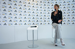 Athlete Blanka Vlasic of Croatia speaks to press during an Adidas Press conference at the Radisson Hotel during day three of the 12th IAAF World Athletics Championships at the Olympic Stadium on August 17, 2009 in Berlin, Germany. (Photo by Vid Ponikvar / Sportida)