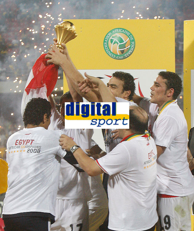 Photo: Steve Bond/Richard Lane Photography.<br />Cameroon v Egypt. The Final. Africa Cup of Nations. 10/02/2008. Ahmed Hassan lifts the cup and Egypt celebrate