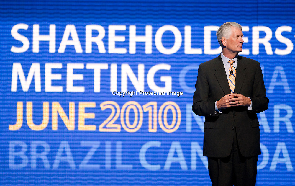 Editorial event photography of Executive Vice President and Chief Financial Officer Tom Schoewe speaks during the annual Wal-Mart shareholder's meeting on Friday, June 4, 2010, in Fayetteville, Ark.