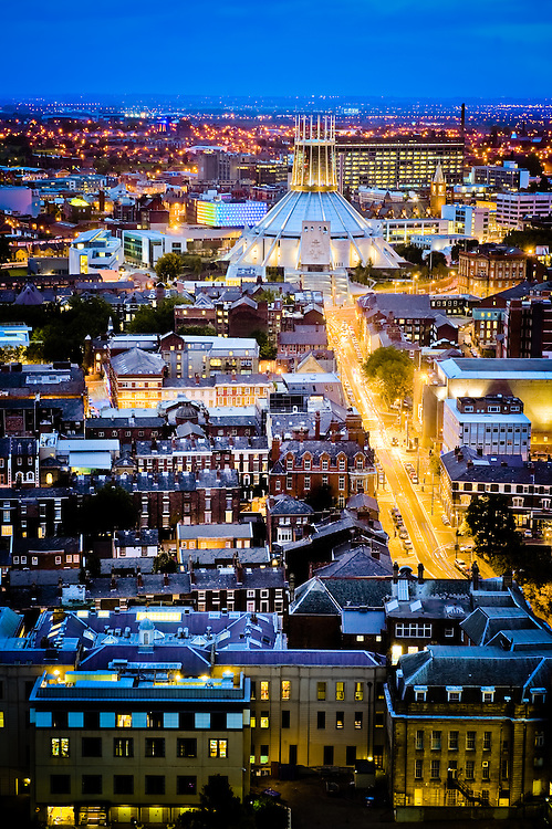 Taken from on top of the Anglican Cathedral. Dusk with Hope Street as a gold river.
