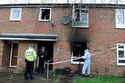© Licensed to London News Pictures. 20/11/2012.House fire kills grandmother last night in Anglesea Road, St Mary Cray,Kent. Police Scenes of Crime at the house this morning (20.11.2012).. Marion Smyth, who would have been 66 on Christmas Day, was pronounced dead at her home in Anglesea Road at about 9.20pm. A man in his late teens tried to get in to the house to save the grandmother but the smoke was too thick and the flames were too fierce..Photo credit : Grant Falvey/LNP