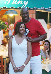 Magic Johnson spotted shopping in Portofino with wife, sons Eravin EJ and Andre, and daughter Elisa. 06 Aug 2017 Pictured: Magic Johnson, Earlitha Kelly. Photo credit: MEGA TheMegaAgency.com +1 888 505 6342
