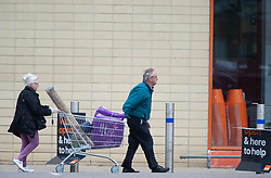 ©Licensed to London News Pictures 30/04/2020  <br /> Dartford, UK. Shoppers with a full trolley outside Dartford B&Q in Kent. B&Q have today opened all of its 288 stores in the UK. The DIY retailer has strict social distancing measures in place. Photo credit:Grant Falvey/LNP