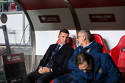 March 22, 2019 - Lisbon, Portugal - Andriy Shevchenko, coach of the Ukrainian team during the Qualifiers - Group B to Euro 2020 football match between Portugal vs Ukraine. (Credit Image: © Henrique Casinhas/SOPA Images via ZUMA Wire)