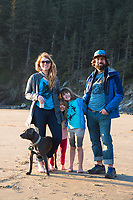 Family enjoying Oswald West State Park, OR.