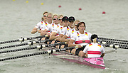 2002 World Rowing Championships - Seville - SPAIN. .GER W8+, German women's eight moves off the start. Bow. Anja PYRITZ, Maja TUCHOLKE, Britta HOLTHAUS, Dana PYRITZ, Nicole ZIMMERMANN, Susanne<br /> SCHMIDT, Lenka WECH, Silke<br /> GUENTHER and Cox Annina RUPPEL.<br /> <br /> [Mandatory Credit: Peter SPURRIER/Intersport Images]<br /> <br /> 20020921 World Rowing Championships Seville, SPAIN