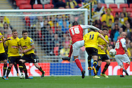 Fleetwood Town's  Antoni Sarcevic taking a free-kick.  Skybet football league two play off final match , Burton Albion v Fleetwood Town at Wembley Stadium in  London on Monday 26th May 2014.<br /> pic by John Patrick Fletcher, Andrew Orchard sports photography.
