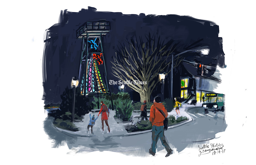 Seattle Sketcher Gabriel Campanario captures the glow of the festive lights that illuminate the historic Air Raid Tower in this Seattle neighborhood. (Gabriel Campanario / The Seattle Times)