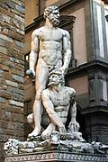 Hercules and Cacus', 1525-1534.  White marble statue at entrance to Palazzo Vecchio, Piazza della Signoria, Florence, Italy.  Baccio Bandinelli (1493-1560) Florentine artist. Sculpture Legend Greek Hero Monster Male Nude