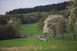 The peloton rides near the bottom of the first categorised climb during Liege-Bastogne-Liege - a 136 km road race, between Bastogne and Ans on April 22, 2018, in Wallonia, Belgium. (Photo by Balint Hamvas/Velofocus.com)
