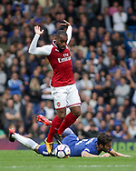 Alexandre Lacazette of Arsenal battles with Cesc Fabregas of Chelsea .Premier league match, Chelsea v Arsenal at Stamford Bridge in London on Sunday 17th September 2017.<br /> pic by Kieran Clarke, Andrew Orchard sports photography.
