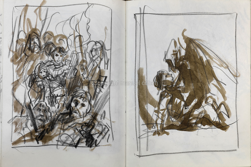 Scene sketches from a sketchbook on Series 30, Moi Jolan, and Series 32, La Bataille d'Asgard, of the Thorgal comic books, by Grzegorz Rosinski, 1941-, Polish comic book artist. Rosinski was born in Stalowa Wola, Poland, and now lives in Switzerland, and is the author and designer of many Polish comic book series. He created Thorgal with Belgian writer Jean Van Hamme. The series was first published in Tintin in 1977 and has been published by Le Lombard since 1980. The stories cover Norse mythology, Atlantean fantasy, science fiction, horror and adventure genres. Picture by Manuel Cohen / Further clearances requested, please contact us and/or visit www.lelombard.com