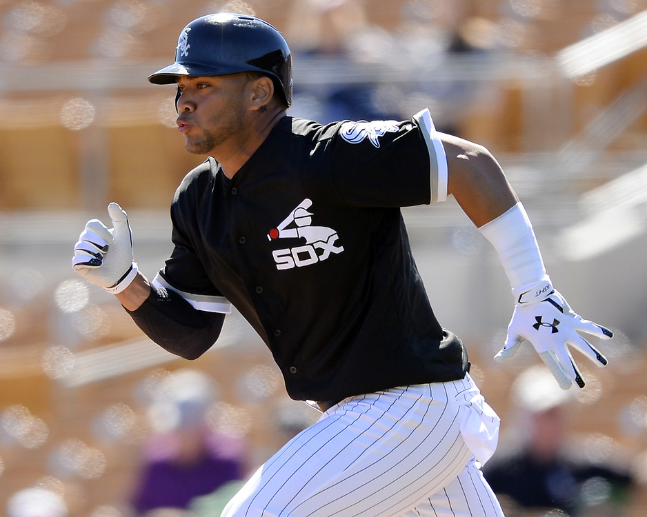 GLENDALE, ARIZONA - MARCH 06:  Yoan Moncada #10 of the Chicago White Sox runs the bases during a spring training game against the San Diego Padres on March 6, 2017 at Camelback Ranch in Glendale Arizona.  (Photo by Ron Vesely)   Subject:   Yoan Moncada