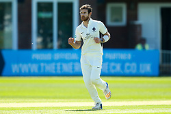 James Harris of Middlesex celebrates taking the wicket of Ben Slater of Derbyshire- Mandatory by-line: Robbie Stephenson/JMP - 20/04/2018 - CRICKET - The 3aaa County Ground  - Derby, England - Derbyshire CCC v Middlesex CCC - Specsavers County Championship Division Two
