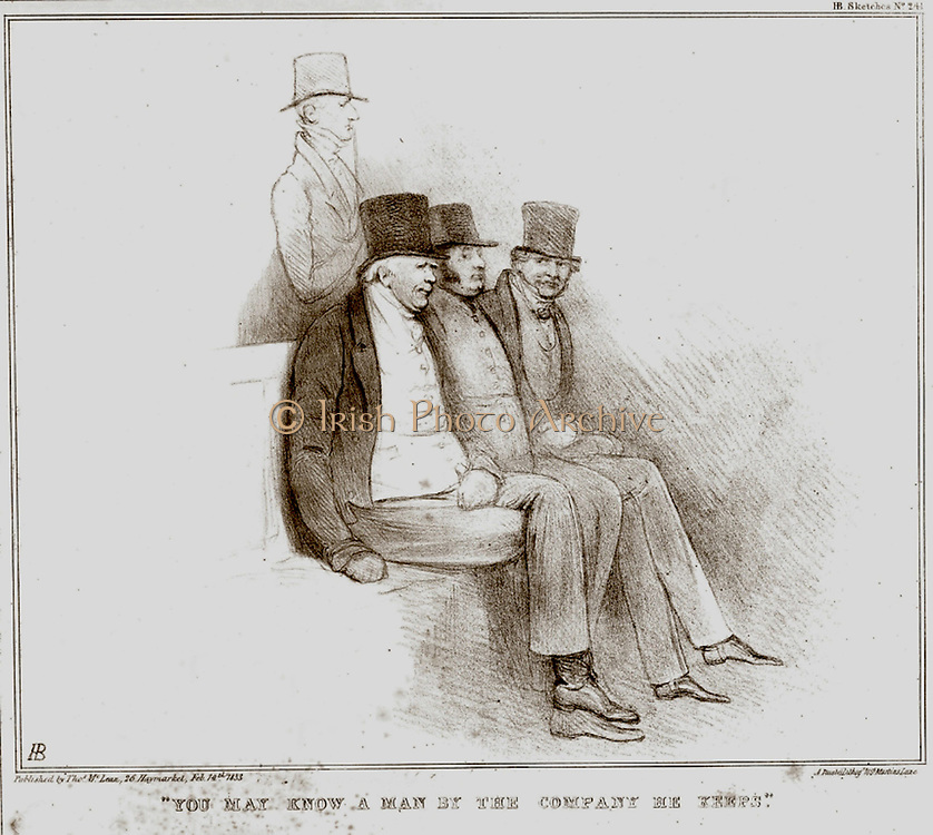 You may know a man by the company he keeps': Sir Francis Burdett (1770-1844) standing behind William Cobbett, Lord Althorp and Edward Smith Stanley, Whigs and supporters of repeal of the Corn Laws and Parliamentary Reform. Cartoon by John Doyle (1797-1868) in his 'Political Sketches', 1833.  Lithograph.