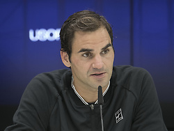 August 31, 2017 - Flushing Meadows, New York, U.S - Roger Federer at a press conference after winning his match on Day Four of the 2017 US Open with Mikhail Youzhny at the USTA Billie Jean King National Tennis Center on Thursday August 31, 2017 in the Flushing neighborhood of the Queens borough of New York City. Federer defeats Youzhny, 6-1, 6-7(7-3), 4-6, 6-4, 6-2. First time Federer play consecutive 5 set matches. (Credit Image: © Prensa Internacional via ZUMA Wire)