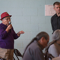 Marlene Johnson, a life long resident of Paguate asks representatives from the EPA if the Jackpile-Paguate Uranium Mine shaft runs under Paguate during a public meeting hosted by the EPA in Laguna Wednesday.