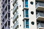 Art deco architecture, in pastel colors, high rise apartment blocks Ocean Drive, Miami South Beach, Florida USA