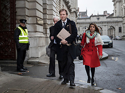 © Licensed to London News Pictures. 15/11/2017. London, UK. Richard Ratcliffe (2L) arrives at the Foreign Office with Tulip Siddiq MP (R)  to meet with Boris Johnson. Mr Ratcliffe's wife, Nazanin Zaghari-Ratcliffe, is currently serving a five-year prison sentence after being arrested at Tehran airport in April 2016 as she attempted to return home from a visit to see her family. Her sentence may be increased after Foreign Secretary Boris Johnson mistakenly said she was in Iran to train journalists. Photo credit: Peter Macdiarmid/LNP