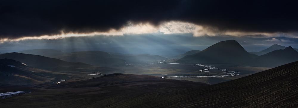 Sunrays on Dómadalsleið, near volcano Hekla, south Iceland