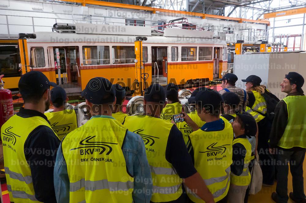 People visit the 120 year old Budafok Tram Depot of Budapest Public Transport Company BKV on a public day in Budapest, Hungary on Sept. 21, 2019. ATTILA VOLGYI